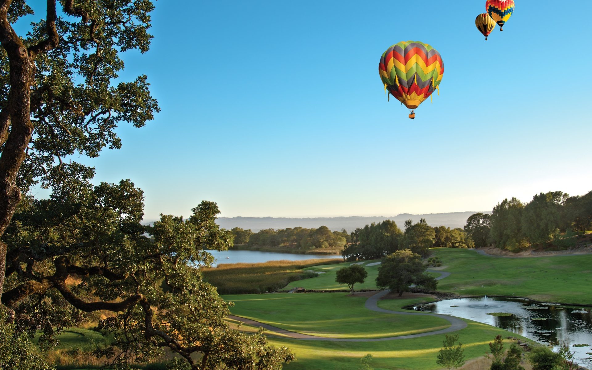 view of a golf course with hot air balloons in the sky
